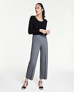 앤테일러 Ann Taylor The Wide-Leg Knit Crop Pants,Silver Lake Grey