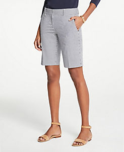 앤테일러 Ann Taylor Seersucker Boardwalk Shorts,Atlantic Navy