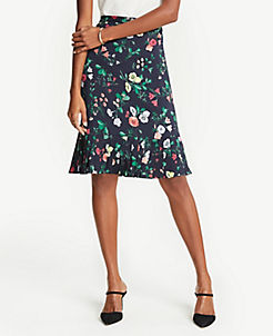 앤테일러 Ann Taylor Floral Pleat Hem Skirt,Night Sky
