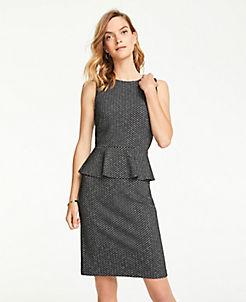 앤테일러 Ann Taylor Herringbone Peplum Sheath Dress,Black Multi