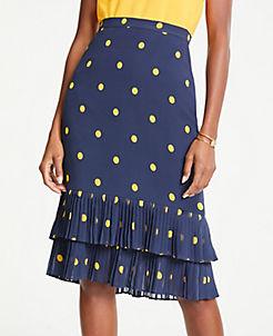 앤테일러 Ann Taylor Polka Dot Pleated Pencil Skirt,Night Sky