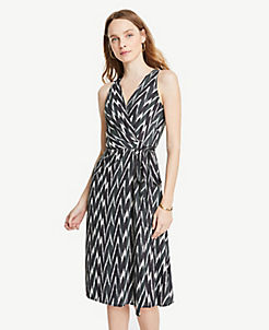 앤테일러 랩 원피스 Ann Taylor Ikat Belted Wrap Dress,Deep Delphinium