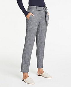 앤테일러 Ann Taylor Tie Waist Drapey Ankle Pants,Black Multi