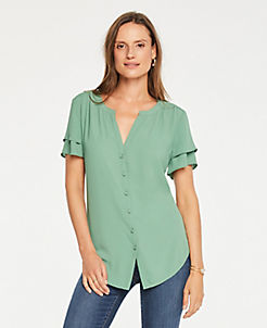 앤테일러 Ann Taylor Tiered Short Sleeve Blouse,Placid Green
