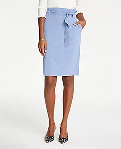 앤테일러 Ann Taylor Petite Tie Waist Pencil Skirt,Chambray Blue