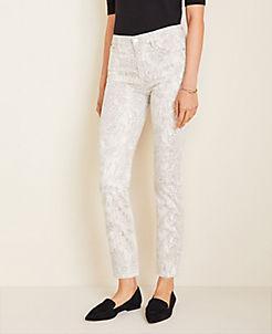 앤테일러 Ann Taylor High Rise Straight Ankle Jeans in Snake Print,Winter White