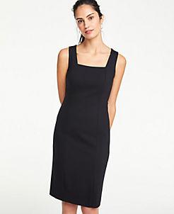 앤테일러 Ann Taylor Square Neck Ponte Sheath Dress,Black