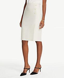 앤테일러 Ann Taylor Petite Textured Button Front Pencil Skirt,Whitewashed