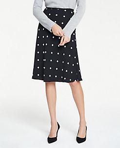 앤테일러 Ann Taylor Petite Polka Dot Flare Skirt,Black Multi