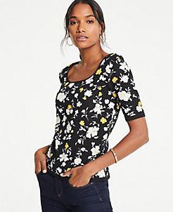 앤테일러 Ann Taylor Floral Square Neck Elbow Sleeve Sweater,Black