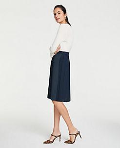 앤테일러 Ann Taylor Colorblock Pleated Full Skirt,Night Sky