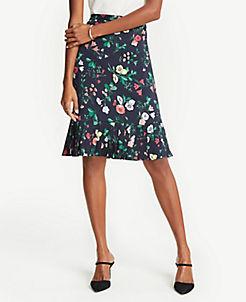 앤테일러 Ann Taylor Petite Floral Pleat Hem Skirt,Night Sky