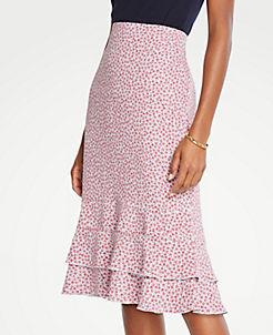 앤테일러 Ann Taylor Petite Floral Double Flounce Pencil Skirt,Cool Peri