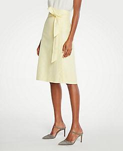 앤테일러 Ann Taylor Petite Linen Tie Waist Wrap Skirt,Light Sunshine