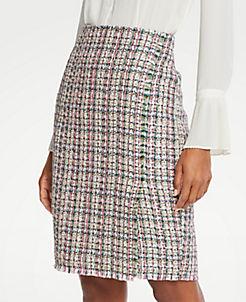 앤테일러 Ann Taylor Petite Tweed Wrap Pencil Skirt,Pink Multi
