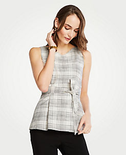 앤테일러 Ann Taylor Petite Plaid Tie Waist Shell,White Multi