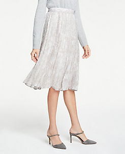 앤테일러 스커트 Ann Taylor Petite Snakeskin Print Pleated Midi Skirt,Winter White