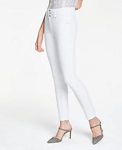 앤테일러 청바지 Ann Taylor High Rise Skinny Jeans In White,White