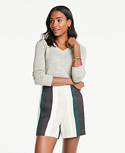 앤테일러 Ann Taylor Striped Linen Blend Shorts,Black