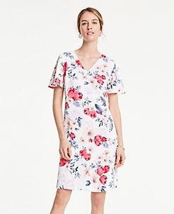 앤테일러 원피스 Ann Taylor Floral Cluster T-Shirt Shift Dress,Winter White