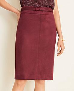 앤테일러 Ann Taylor Faux Suede Belted Pencil Skirt