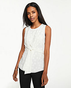 앤테일러 Ann Taylor Petite Clip Dot Tie Waist Shell,Winter White