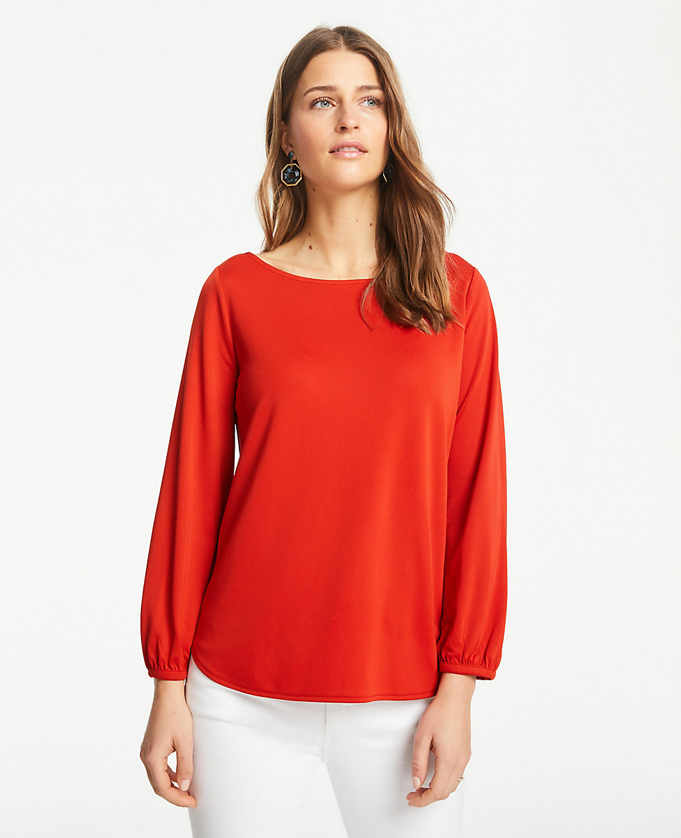 789a7d67c16 Petite Matte Jersey Blouson Sleeve Top. Hover to Zoom