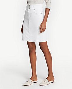 앤테일러 Ann Taylor Petite Three Button Denim Skirt,White
