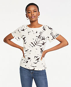 앤테일러 Ann Taylor Midnight Jungle Bauble Trim Tee,Dark Peppercorn