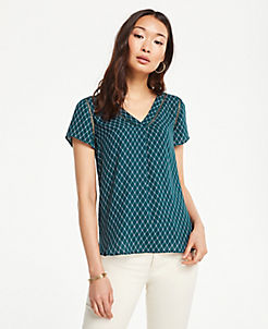 앤테일러 Ann Taylor Geo Cutout Mixed Media Top,Emerald Sea