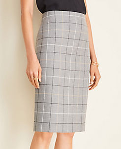 앤테일러 Ann Taylor The Pencil Skirt in Windowpane,Grey Plaid