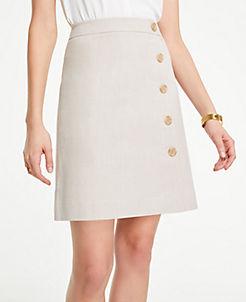 앤테일러 Ann Taylor Curvy Button Textured A-Line Skirt,Natural