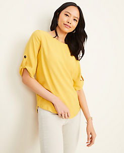 앤테일러 Ann Taylor Mixed Media Tab Sleeve Top