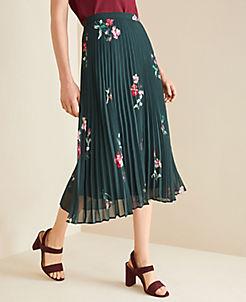 앤테일러 Ann Taylor Floral Micro Pleat Skirt,Deep Bottle Green
