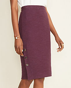 앤테일러 펜슬 스커트 Ann Taylor Textured Button Pencil Skirt,Bold Plum