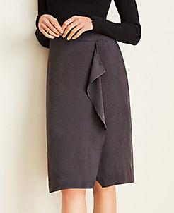 앤테일러 Ann Taylor Snake Print Ruffle Pencil Skirt,Anthracite Grey