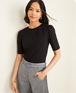 앤테일러 Ann Taylor Eyelet Trim Top,Black