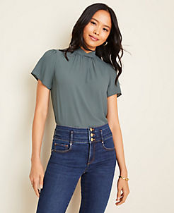 앤테일러 Ann Taylor Mixed Media Twist Neck Top,Dark Green