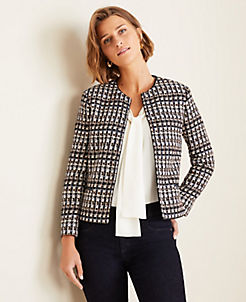 앤테일러 Ann Taylor Tweed Jacket,Navy Multi