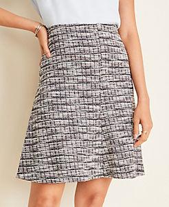 앤테일러 Ann Taylor Tweed Paneled Full Skirt,Navy Multi
