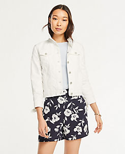 앤테일러 Ann Taylor Floral Side Zip Shorts,Atlantic Navy
