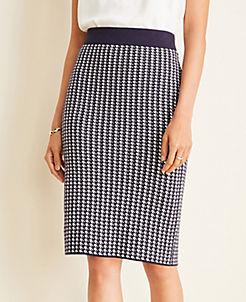 앤테일러 Ann Taylor Houndstooth Sweater Pencil Skirt,Night Sky