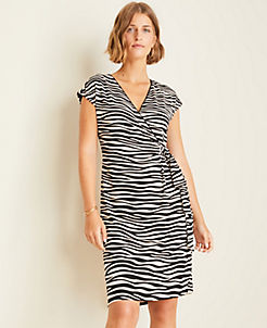 앤테일러 랩 원피스Ann Taylor Zebra Print Matte Jersey Wrap Dress,Doeskin Tan