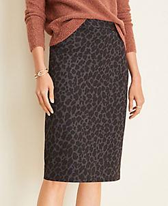 앤테일러 Ann Taylor Animal Print Pencil Skirt,Gravel Melange