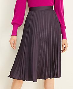앤테일러 Ann Taylor Pleated Midi Skirt,Shadowed Violet