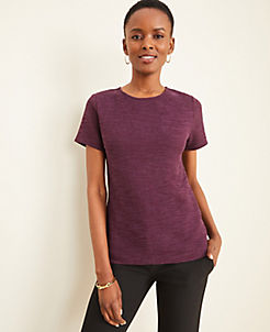 앤테일러 Ann Taylor Tweedy Button Back Tee,Bold Plum