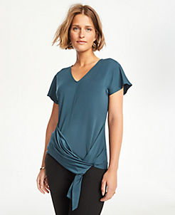 앤테일러 Ann Taylor Knot Hem Flutter Sleeve Top,Emerald Sea