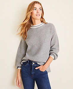 앤테일러 Ann Taylor Tipped Cashmere Sweater