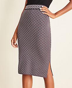 앤테일러 Ann Taylor Geo Sweater Pencil Skirt,Phantom Grey