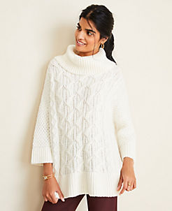 앤테일러 Ann Taylor Turtleneck Cable Poncho Sweater,Winter White